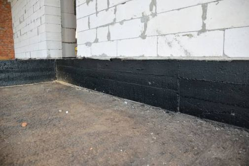 View of wall waterproofing