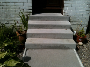 Newly constructed steps